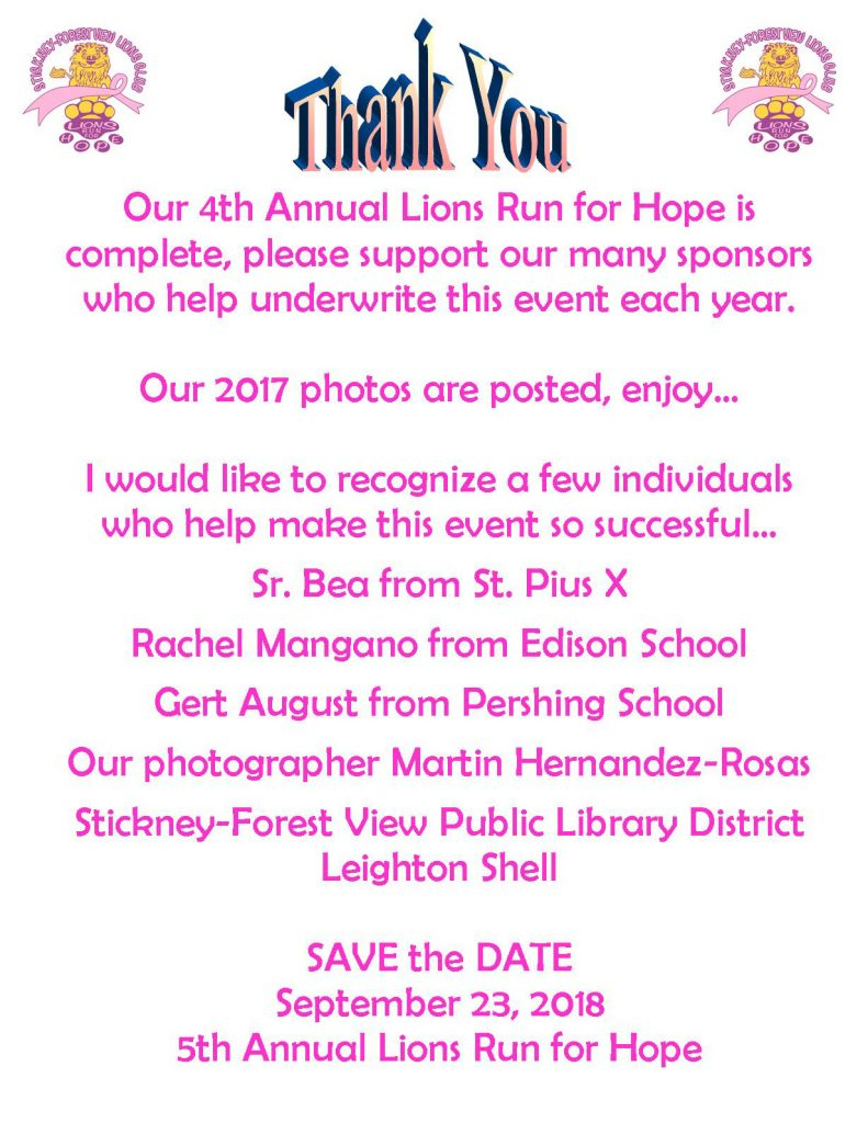 THANK YOU AND SAVE THE DATE